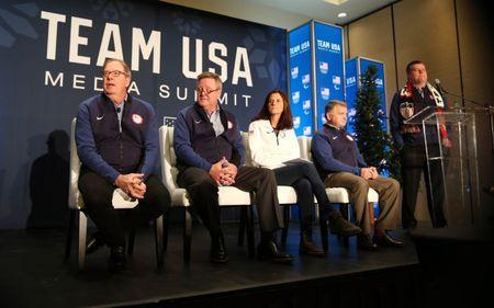 Sep 25, 2017; Park City, UT, USA; USOC leadership members from left Larry Probst , Scott Blackmun , Lisa Baird , Alan Ashley and Patrick Sandusky at a press conference during the 2018 U.S. Olympic Team media summit at the Grand Summit Hotel. Mandatory Credit: Jerry Lai-USA TODAY Sports