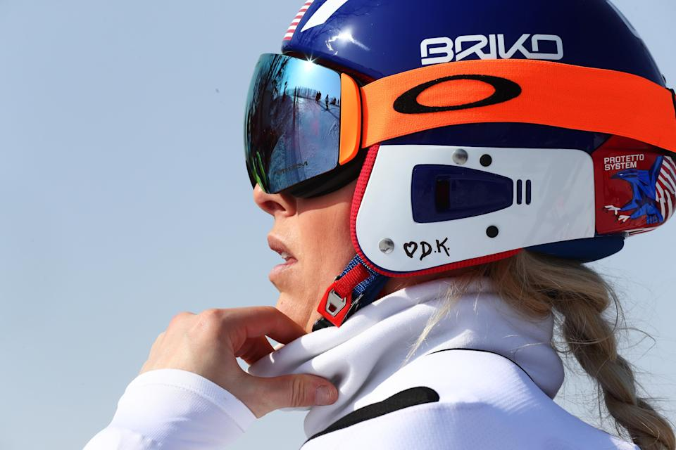Lindsey Vonn wrote her late grandfather's initials, D.K, and a heart on her race helmet in PyeongChang. (Getty Images)