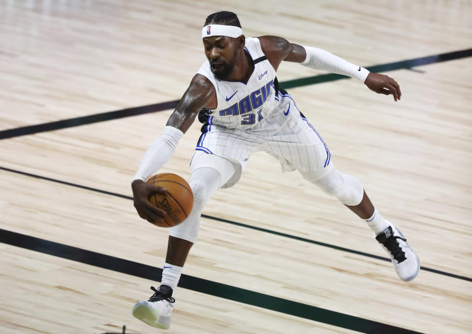 """Terrence Ross left the bubble to deal with a """"non-COVID medical matter"""" at the recommendation of an NBA physician in Orlando. (Kim Klement/Pool Photo/AP)"""