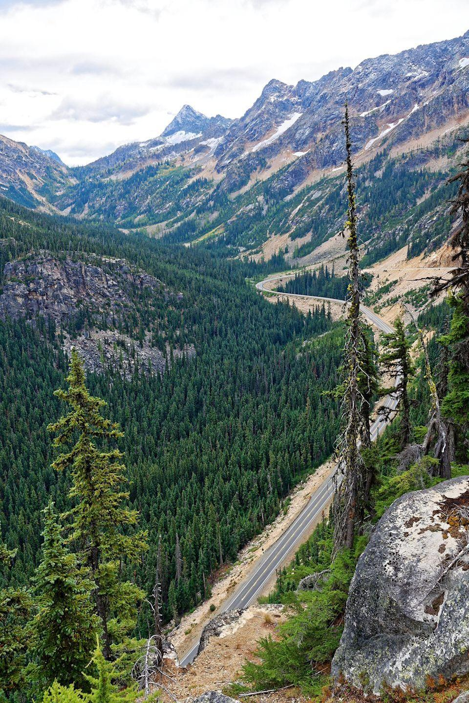 """<p><strong>The Drive:</strong> <a href=""""https://www.tripadvisor.com/Attraction_Review-g28968-d145628-Reviews-Cascade_Loop-Washington.html"""" rel=""""nofollow noopener"""" target=""""_blank"""" data-ylk=""""slk:Cascade Loop"""" class=""""link rapid-noclick-resp"""">Cascade Loop</a></p><p><strong>The Scene:</strong> Over the course of this 440-mile loop around the state, you'll get to see the state's most beautiful rivers, mountains, parks, lakes, small towns, and cities. </p><p><strong>The Pit-Stop:</strong> Though you'll no doubt want to make several stops on this journey, <a href=""""https://www.tripadvisor.com/Tourism-g58560-Leavenworth_Washington-Vacations.html"""" rel=""""nofollow noopener"""" target=""""_blank"""" data-ylk=""""slk:Leavenworth, Washington"""" class=""""link rapid-noclick-resp"""">Leavenworth, Washington</a>, should be at the top of your list. This small town is packed with Bavarian-style architecture and fun activities—especially during Oktoberfest. </p>"""