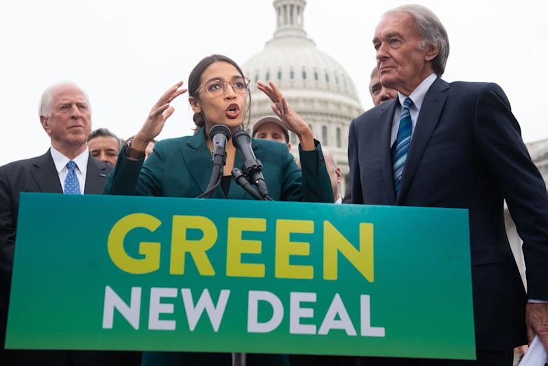 Rep. Alexandria Ocasio-Cortez, D-N.Y., and Den. Ed Markey, D-Mass., during a press conference to announce the Green New Deal in Washington, D.C., Feb. 7, 2019. (Photo by Saul Loeb/AFP/Getty Images)