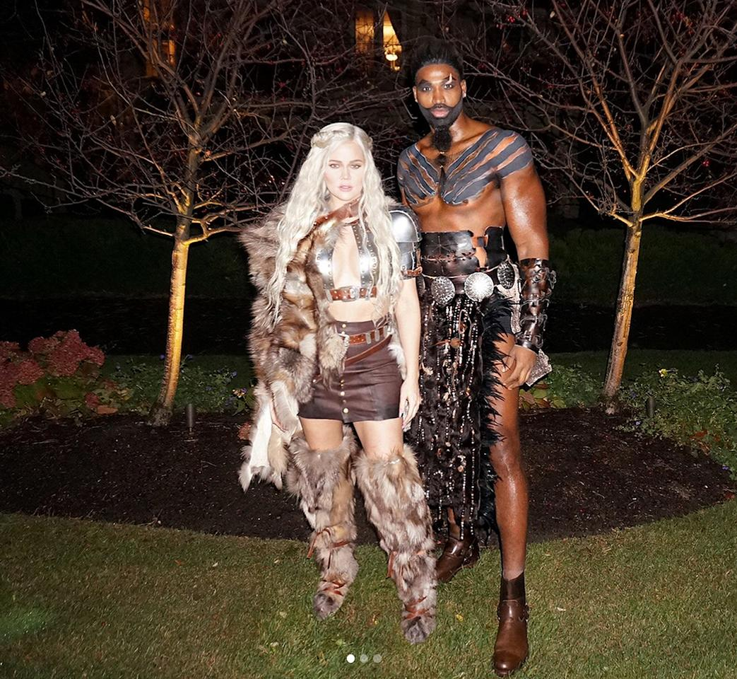 <p>Before the <em>Keeping Up with the Kardashians</em> star confirmed she and boyfriend Tristan Thompson were expecting their first child, the couple dressed in their best Dothraki-inspired costumes for Halloween.</p>