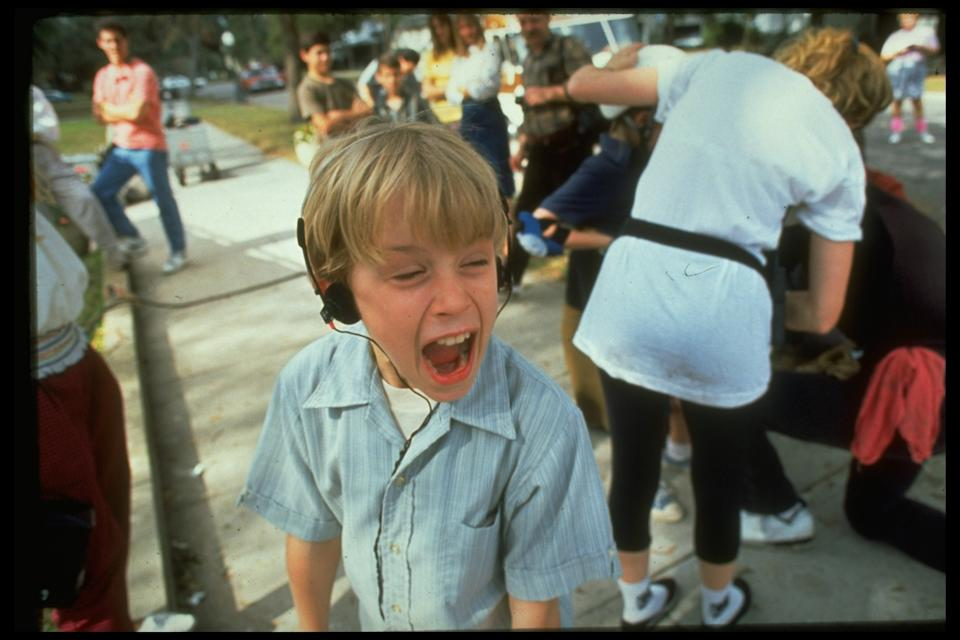 Chld actor Macaulay Culkin screaming on set of My Girl, w. crew, et all in rear.  (Photo by Acey Harper/The LIFE Images Collection via Getty Images/Getty Images)
