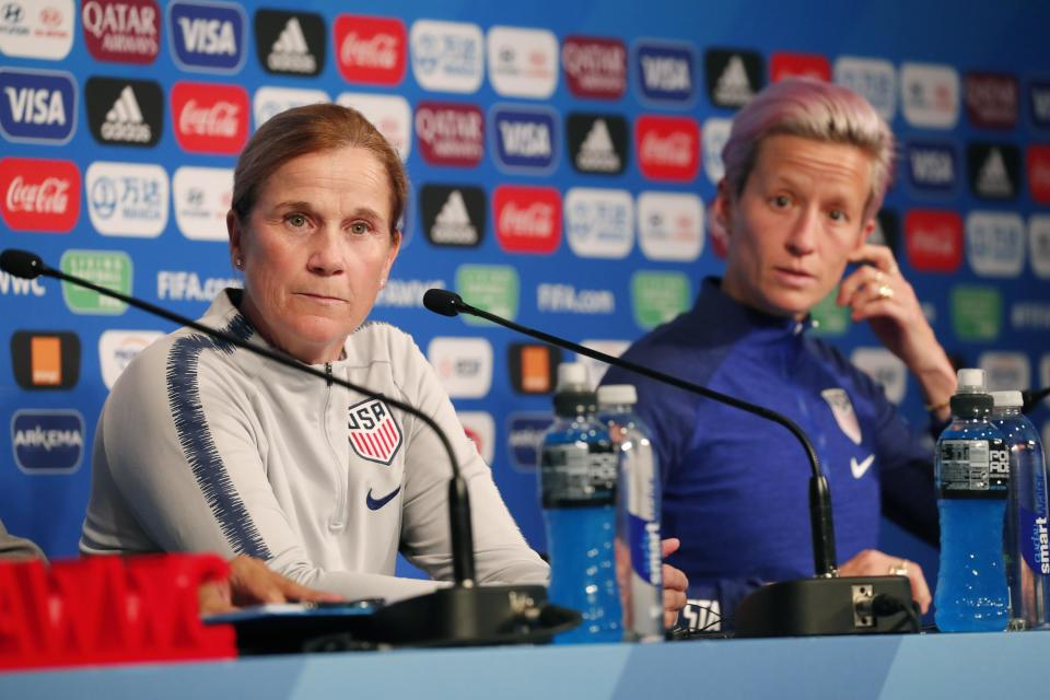 Jun 27, 2019; Paris, FRA; United States head coach Jill Ellis and forward Megan Rapinoe answer questions during a Team USA press conference in the FIFA Women's World Cup France 2019 at Parc des Princes. Mandatory Credit: Michael Chow-USA TODAY Sports
