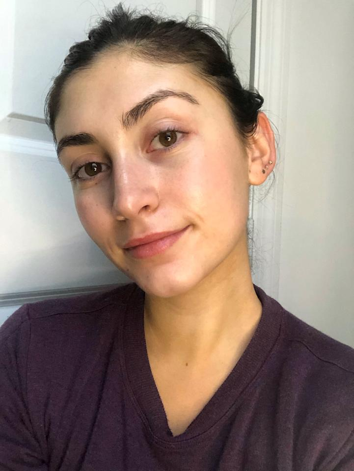 "<p>To put it to the test, I completed my <a href=""https://www.popsugar.com/beauty/best-nighttime-skincare-products-for-combination-skin-46985372"" target=""_blank"" class=""ga-track"" data-ga-category=""Related"" data-ga-label=""https://www.popsugar.com/beauty/best-nighttime-skincare-products-for-combination-skin-46985372"" data-ga-action=""In-Line Links"">nighttime skincare routine</a> like normal - just skipping any exfoliation like retinol - and used the tanning oil as the final step in my routine. My face is lighter than my neck because I wear a facial sunscreen religiously every day, so I was curious to see if it would help even me out. </p> <p>The directions recommend using anywhere from six to 10 drops - the more drops you use, the deeper your tan. I opted for seven just to be safe and used the dropper to apply the oil straight to my face before rubbing it in with my hands. The oil is lightweight and goes on clear so you can't see the color right away. The only indication is a slight tanner smell, but that quickly dissipates and it just feels like a regular facial oil. You want to make sure you wash your hands thoroughly after use to ensure they don't end up discolored. Then you go to sleep and let the formula work its magic.</p>"