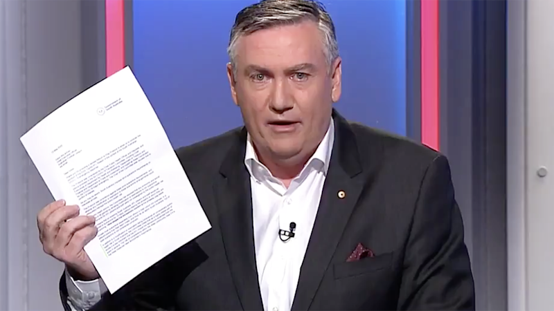 Pictured here, Eddie McGuire talking about SA's letter regarding the AFL's restart plans.