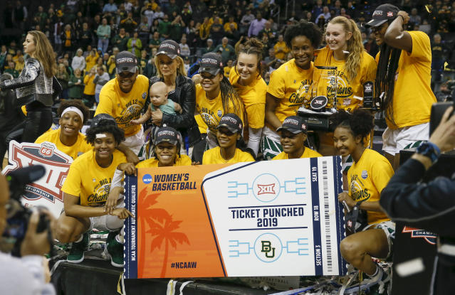 Baylor poses for a photo after defeating Iowa State in an NCAA college basketball game in the Big 12 women's conference tournament championship in Oklahoma City, Monday, March 11, 2019. Baylor won 67-49. (AP Photo/Alonzo Adams)