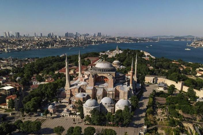The United States has urged Turkey not to change the status of the Hagia Sophia, a church turned mosque turned museum (AFP Photo/Ozan KOSE)