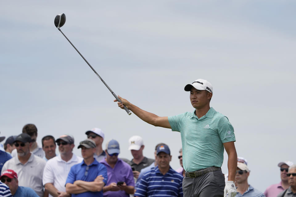 Collin Morikawa watches his tee shot on the 15th tee during a practice round at the PGA Championship golf tournament on the Ocean Course Wednesday, May 19, 2021, in Kiawah Island, S.C. (AP Photo/David J. Phillip)