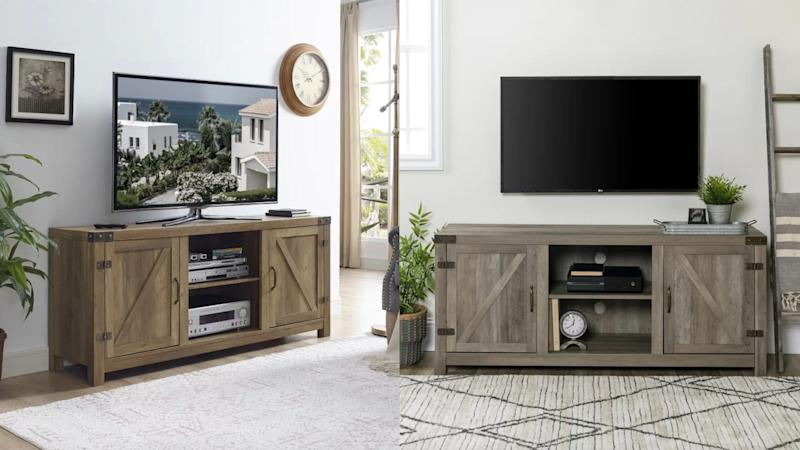 Hidden storage is a must with this TV stand.