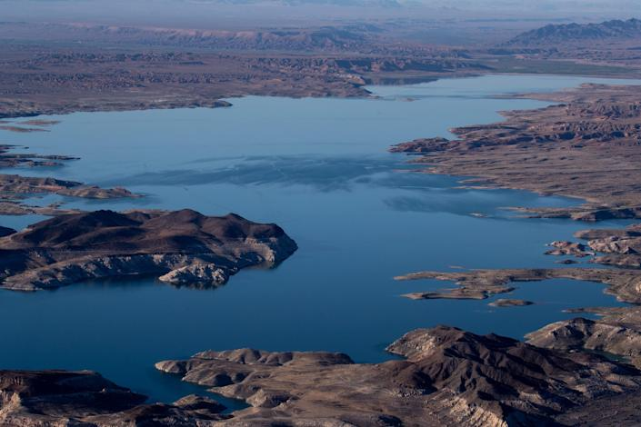 The Overton Arm of Lake Mead at Lake Mead National Recreation Area, Nevada. The reservoir has declined dramatically since 2000.
