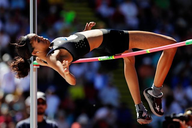 <p>Vashti Cunningham competes in the Women's High Jump Final during the 2016 U.S. Olympic Track & Field Team Trials at Hayward Field on July 3, 2016 in Eugene, Oregon. (Photo by Andy Lyons/Getty Images) </p>