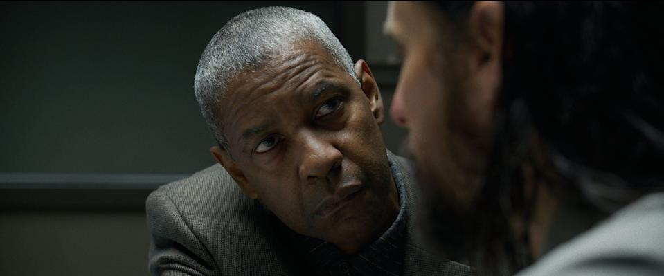 "Deke (Denzel Washington, left) gets in the face of Albert Sparma (Jared Leto) during an interrogation in the crime thriller ""The Little Things."""