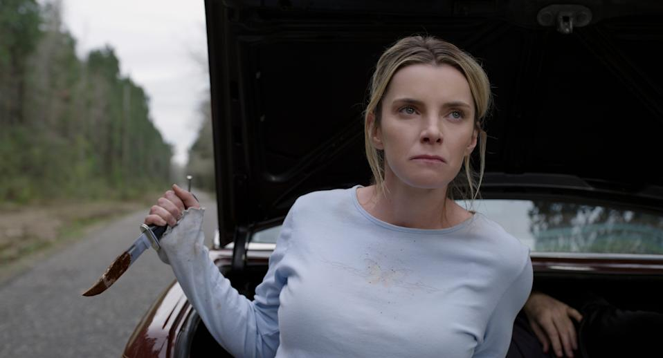 """Betty Gilpin stars as a Southern woman trying to survive being preyed upon for sport in """"The Hunt."""""""