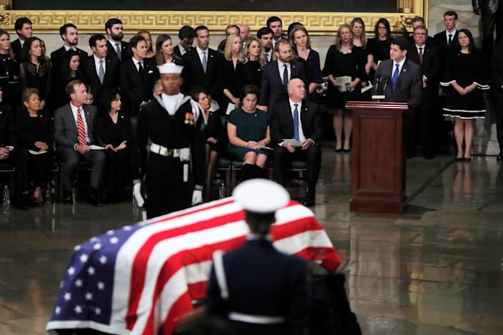 Ryan speaks in the Capitol rotunda during ceremonies for former President George H.W. Bush, Dec. 3, 2018. (Photo: Eric Thayer/Reuters)