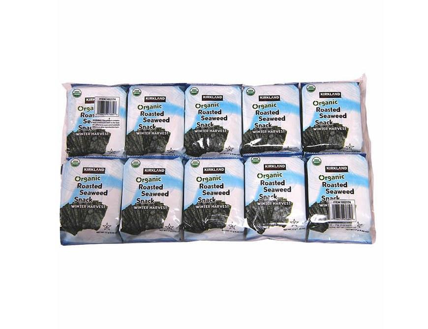 """<p>""""I am currently obsessed with roasted seaweed snacks,"""" Lindsey Pine, M.S., R.D., owner of <a rel=""""nofollow"""" href=""""http://tastybalancenutrition.com/?mbid=synd_yahoofood"""">Tasty Balance Nutrition</a>, tells SELF. """"They are the perfect snack when you're craving something crunchy and salty, but want something low in calories."""" Plus, she says that they're full of vitamins and minerals like calcium and vitamins A, C, and B12. Though we're partial to <a rel=""""nofollow"""" href=""""http://www.self.com/story/healthy-food-trends-2017?mbid=synd_yahoofood"""">any seaweed snacks</a>, these are especially great because you can buy them in bulk.</p>"""