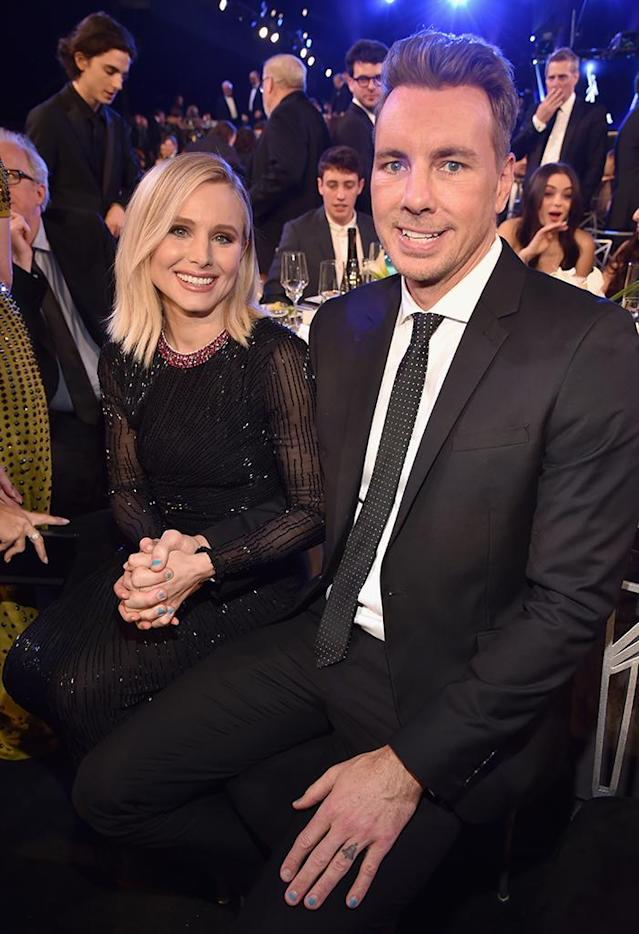 "<p>The ""first lady"" of the SAG Awards, Kristen Bell, was accompanied by her fIrst (and best) man, husband Dax Shepard, who cheered her on while she did a stellar job hosting the show at the Shrine Auditorium. (Photo: Kevin Mazur/Getty Images for Turner Image) </p>"