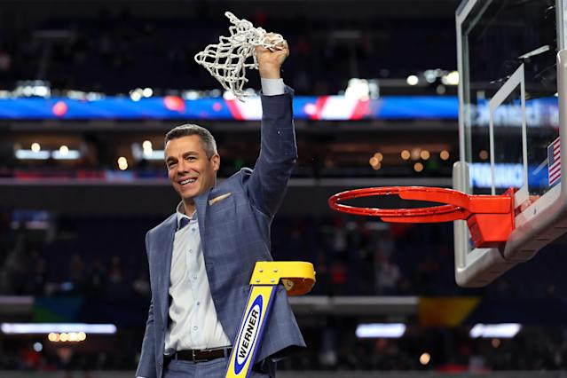Head coach Tony Bennett of the Virginia Cavaliers cuts down the net after his teams 85-77 win over the Texas Tech Red Raiders in the 2019 NCAA men's Final Four National Championship game at U.S. Bank Stadium on April 08, 2019 in Minneapolis, Minnesota. (Photo by Tom Pennington/Getty Images)
