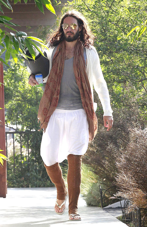"Russell Brand. Leg warmers (in scorching hot Southern California). 'nuff said. (9/17/2012)<br><br><a target=""_blank"" href=""http://omg.yahoo.com/news/russell-brand-dating-spice-girls-geri-halliwell-124500494.html"">Brand dating Ginger Spice?</a>"
