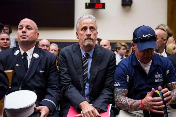 PHOTO: Jon Stewart arrives before testifying during a House Judiciary Committee hearing on reauthorization of the September 11th Victim Compensation Fund on Capitol Hill on June 11, 2019 in Washington, DC. (Zach Gibson/Getty Images)