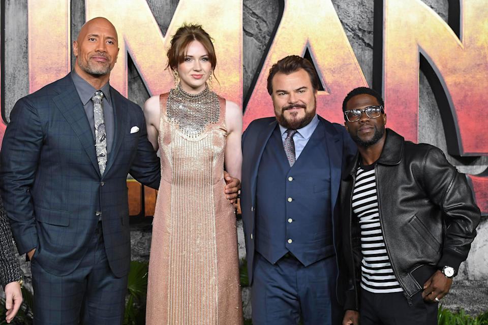 Photo by: KGC-143/STAR MAX/IPx 2017 12/7/17 Dwayne Johnson, Karen Gillan, Jack Black and Kevin Hart at the premiere of 'Jumanji: Welcome To The Jungle' in London, England.