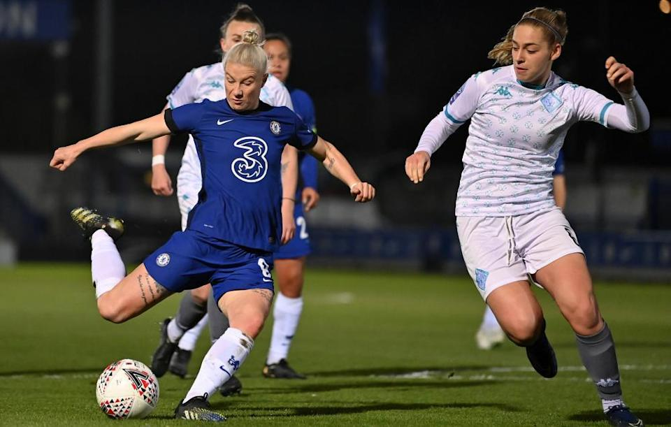 Bethany England (left) is 'crucial' to Chelsea, Emma Hayes says, despite being reduced to a bit-part status this season.