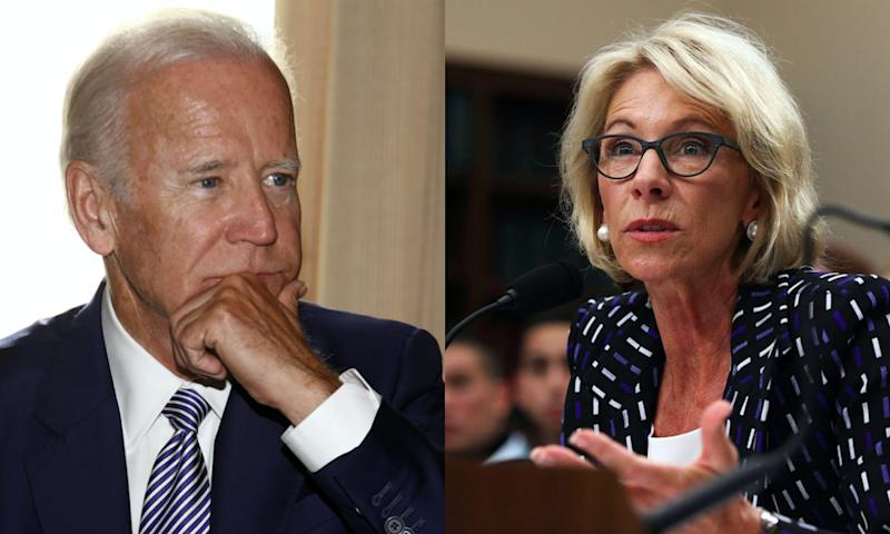 Former Vice President Joe Biden is not happy with Secretary of Education Betsy DeVos' recent announcement on Title IX.