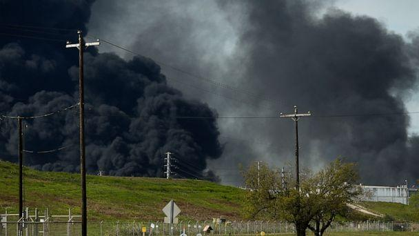PHOTO: The petrochemical fire at Intercontinental Terminals Company reignited as crews tried to clean out the chemicals that remained in the tanks Friday, March 22, 2019, in Deer Park, Texas. (AP)