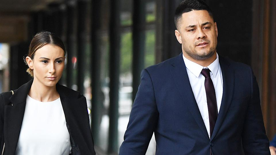 Jarryd Hayne, pictured here at Downing Centre District Court in Sydney.