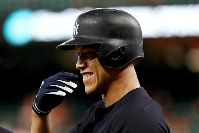 Judge, 25, became the first Yankee player since Derek Jeter in 1996 to pick up the American League award after a dazzling debut season (AFP Photo/ELSA)