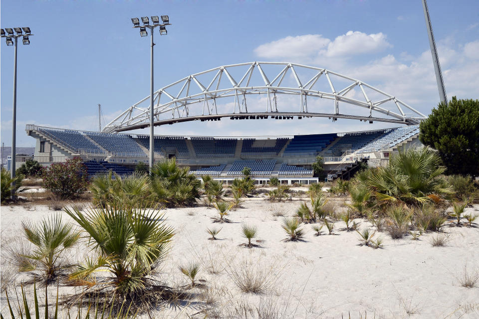ATHENS, GREECE - JULY 31: General view of the Beach Volleyball Olympic Stadium at Faliro Olympic Complex in Athens, Greece on July 31, 2014. Ten years ago the XXVIII Olympiad was held in Athens from the 13th - 29th August with the motto