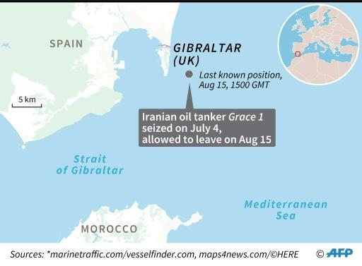 Map locating the last known position of Iranian oil tanker Grace 1, which was seized off Gibraltar on July 4 and allowed to leave August 15