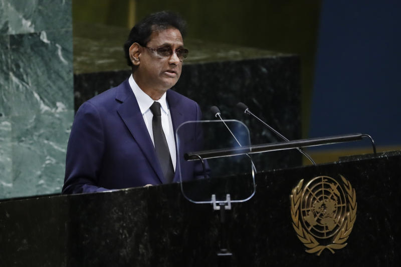 President of Mauritius Paramasivum Pillay Vyapoory addresses the 74th session of the United Nations General Assembly, Friday, Sept. 27, 2019, at the United Nations headquarters. (AP Photo/Frank Franklin II)