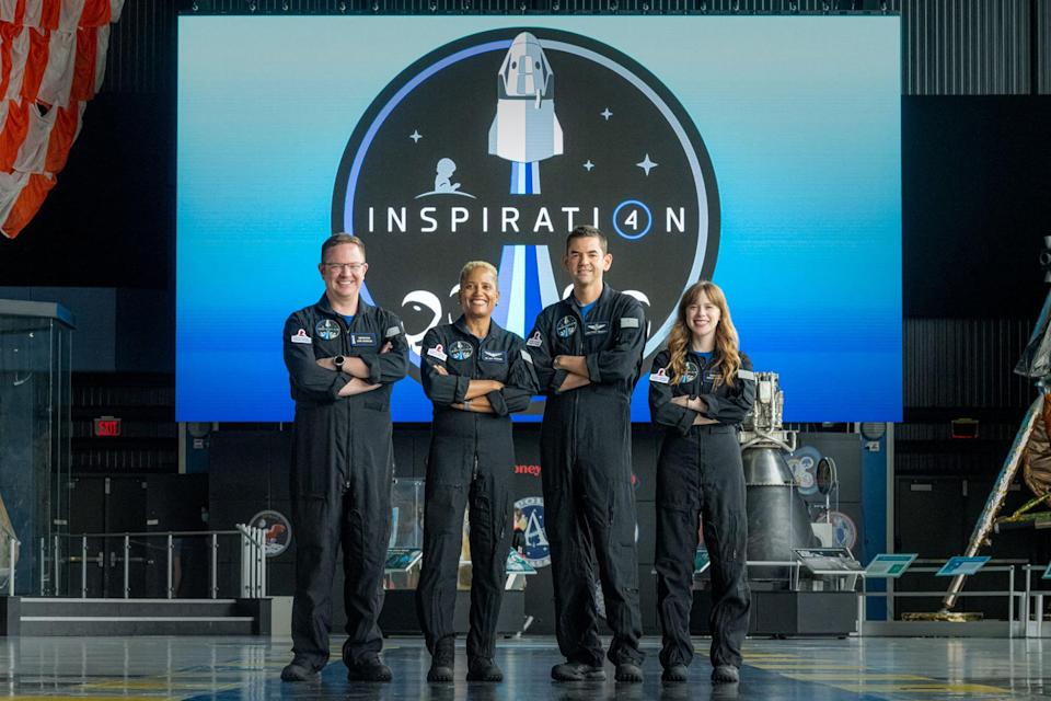 """<p>On Wednesday night, Sept. 15, Chris Sembroski, Dr. Sian Proctor, Jared Isaacman and Hayley Arceneaux (pictured left to right) <a href=""""https://people.com/human-interest/meet-all-civilian-spacex-inspiration4-crew/"""" rel=""""nofollow noopener"""" target=""""_blank"""" data-ylk=""""slk:will make history"""" class=""""link rapid-noclick-resp"""">will make history</a> as the first all-civilian mission to blast off into outer space.</p> <p>Shooting from the <a href=""""https://www.kennedyspacecenter.com/launches-and-events/events-calendar/2021/september/rocket-launch-spacex-inspiration-4"""" rel=""""nofollow noopener"""" target=""""_blank"""" data-ylk=""""slk:Kennedy Space Center"""" class=""""link rapid-noclick-resp"""">Kennedy Space Center</a> in Florida with a launch window opening at 8:02 p.m., the four will fly in SpaceX's Crew Dragon capsule and tour Earth's orbit for three days. </p> <p>Earthside, the Inspiration4 mission is fundraising for St. Jude Children's Research Hospital with a $200 million goal – to which Isaacman has already pledged $100 million, per the <a href=""""https://www.stjude.org/media-resources/news-releases/2021-fundraising-news/all-civilian-space-mission-inspiration4.html"""" rel=""""nofollow noopener"""" target=""""_blank"""" data-ylk=""""slk:pediatric care center."""" class=""""link rapid-noclick-resp"""">pediatric care center.</a></p>"""