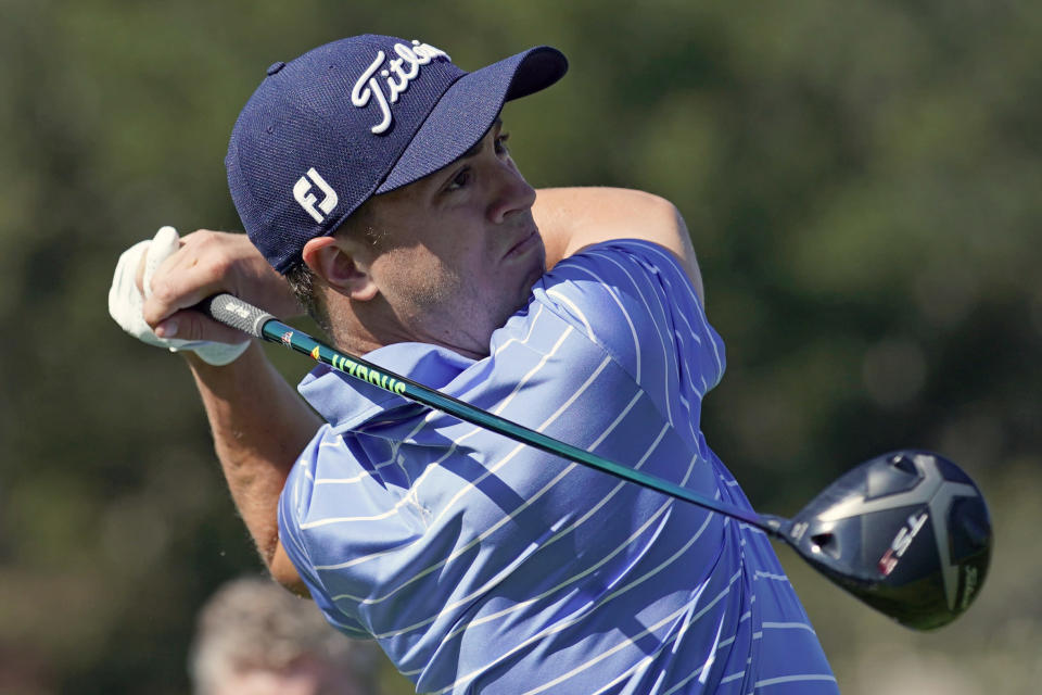 Justin Thomas hits his tee shot on the 17th hole during the Genesis Invitational pro-am golf event at Riviera Country Club, Wednesday, Feb. 12, 2020, in the Pacific Palisades area of Los Angeles. (AP Photo/Ryan Kang)