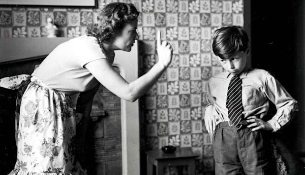 Volume 2, Page 74, Picture, 1. A picture of a mother telling off her son. 1958