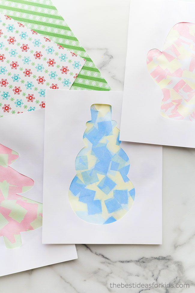 """<p>Though kid-friendly, this handmade holiday card manages to look rather elegant. For best results, use a stencil to cut out the shapes, then let kids apply the tissue paper. </p><p><em>Get the tutorial at <a href=""""https://www.thebestideasforkids.com/christmas-bleeding-tissue-paper-art/"""" rel=""""nofollow noopener"""" target=""""_blank"""" data-ylk=""""slk:The Best Ideas for Kids"""" class=""""link rapid-noclick-resp"""">The Best Ideas for Kids</a>.</em></p><p><a class=""""link rapid-noclick-resp"""" href=""""https://www.amazon.com/American-Greetings-Green-Tissue-Sheets/dp/B07CYDVGSR/?tag=syn-yahoo-20&ascsubtag=%5Bartid%7C10072.g.34351112%5Bsrc%7Cyahoo-us"""" rel=""""nofollow noopener"""" target=""""_blank"""" data-ylk=""""slk:SHOP TISSUE PAPER"""">SHOP TISSUE PAPER</a></p>"""