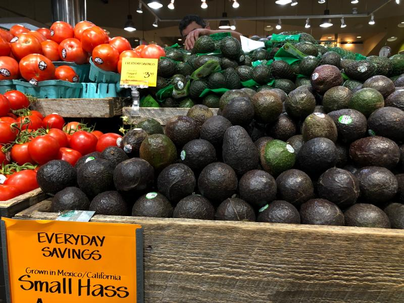 Avocados and tomatoes from Mexico are seen for sale in a store on June 6, 2019 in Washington,DC. - US President Donald Trump has trumpeted the robust US economy but hitting all products from Mexico with 25 percent tariffs threatens to undercut growth and undermine key American industries, economists warn. Tomatoes and avocados -- nearly 90 percent of which come from Mexico and other seasonal fruits would be hit hard. (Photo by Anna-Rose GASSOT / AFP) (Photo credit should read ANNA-ROSE GASSOT/AFP/Getty Images)