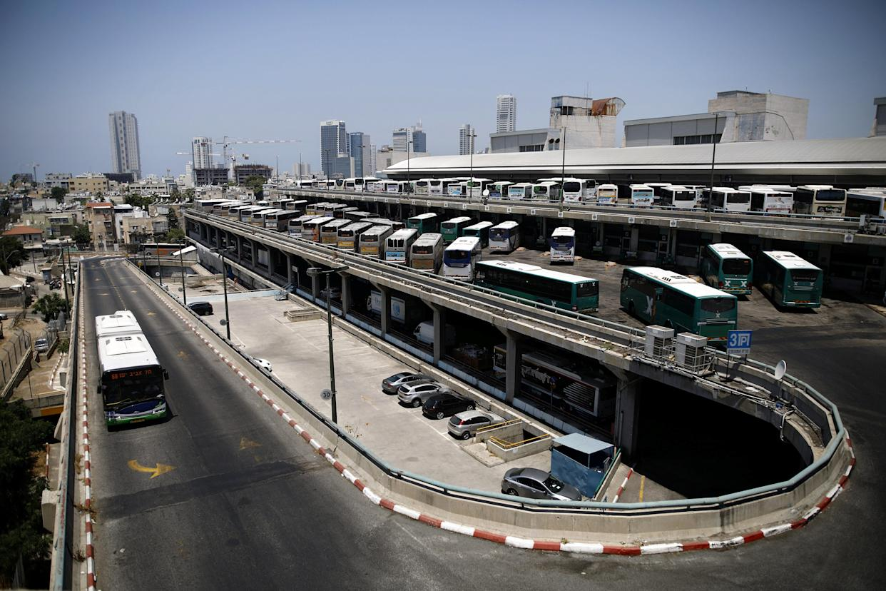 Buses parked at the Central Bus Station on May 29. (Photo: Corinna Kern/Reuters)