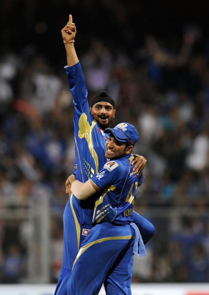 Harbhajan Singh of Mumbai Indians celebrates the wicket of Jacques Kallis of Kolkata Knight Riders during match 53 of the Pepsi Indian Premier League ( IPL) 2013  between The Mumbai Indians and the Kolkata Knight Riders held at the Wankhede Stadium in Mumbai on the 7th May 2013 ..Photo by Pal Pillai-IPL-SPORTZPICS  ..Use of this image is subject to the terms and conditions as outlined by the BCCI. These terms can be found by following this link:..https://ec.yimg.com/ec?url=http%3a%2f%2fwww.sportzpics.co.za%2fimage%2fI0000SoRagM2cIEc&t=1490688407&sig=1q.LpjzB2ohP05OUEeJOPw--~C