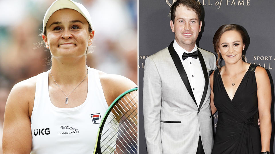 Ash Barty, pictured here after advancing to the Wimbledon final.