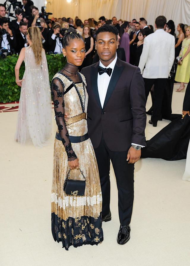 "Letitia Wright and John Boyega arrive at the 2018 Metropolitan Museum of Art Costume Institute Gala: ""Heavenly Bodies: Fashion and the Catholic Imagination"" on May 7. (Photo: Principia/Splash News )"