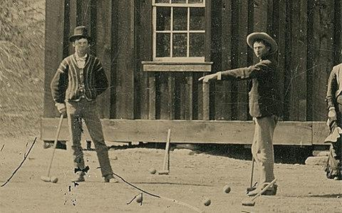 The photograph of Billy the Kid (left) playing croquet  - Credit: Kagin's
