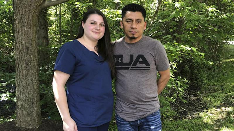 Alyse and Elmer Sanchez thought the US has approved their marriage but minutes later Elmer was detained.