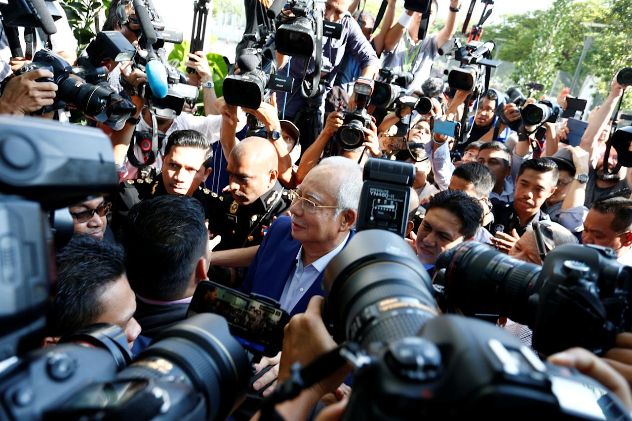 Malaysia's former prime minister Najib Razak arrives to give a statement to the Malaysian Anti-Corruption Commission (MACC) in Putrajaya, Malaysia May 22, 2018. Picture taken May 22, 2018 REUTERS/Lai Seng Sin