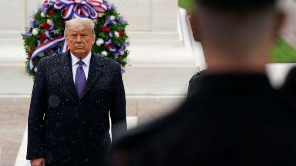 PHOTO: President Donald Trump participates in a Veterans Day wreath laying ceremony at the Tomb of the Unknown Soldier at Arlington National Cemetery in Arlington, Va., Nov. 11, 2020. (Patrick Semansky/AP)