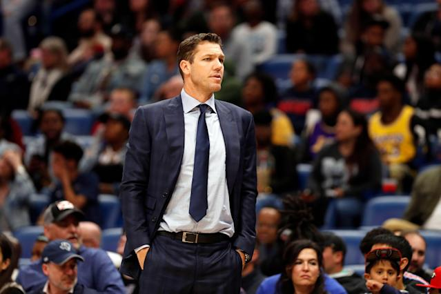 Luke Walton coached the L.A. Lakers for three seasons. (AP Photo/Tyler Kaufman)