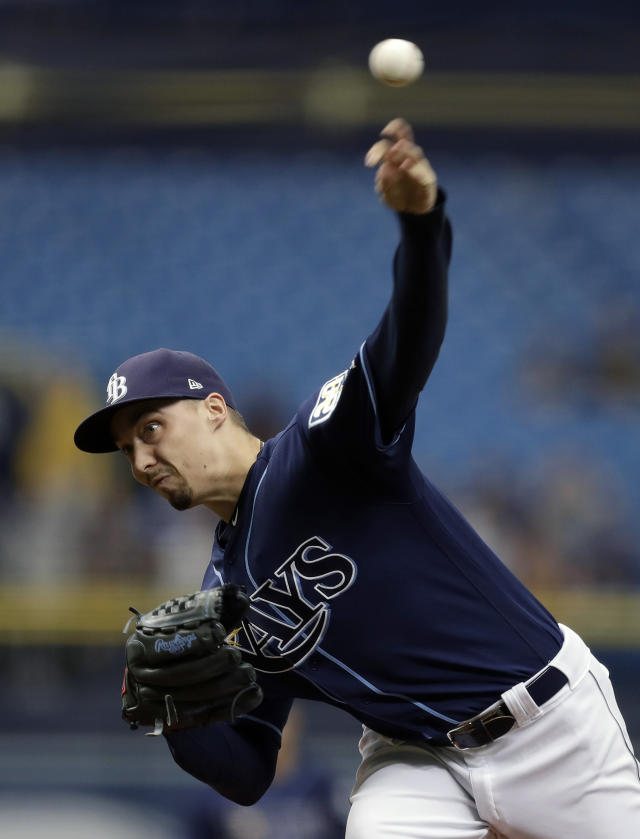 Tampa Bay Rays starting pitcher Blake Snell delivers to the Cleveland Indians during the first inning of a baseball game Wednesday, Sept. 12, 2018, in St. Petersburg, Fla. (AP Photo/Chris O'Meara)