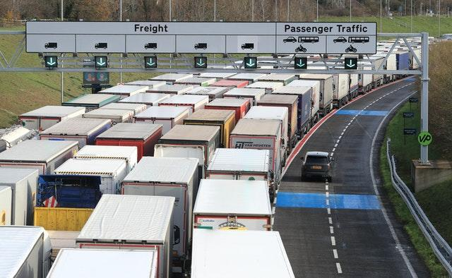 Freight lorries queue at the Eurotunnel site in Folkestone, Kent, as the clock ticks down on the chance for the UK to strike a deal before the end of the Brexit transition period on December 31
