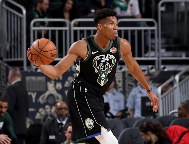 Giannis Antetokounmpo tallied 30 points and 13 rebounds and came up with the play of the game on defense in a win over the Celtics. (Getty)